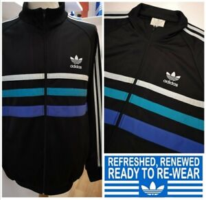 ADIDAS ORIGINALS TRACK JACKET FIRSTS SIZE M/L Black Tracksuit Top retro rare