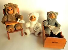 "Lot of 3 Robert Raikes Nursery Miniature 7"" Bear Babies Highchair & Cradle 1990"