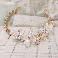 Flower Rhinestone Tiara Bridal Headband Wedding Faux Pearl Hair Clip Accessories