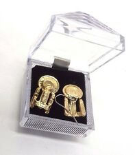 Star Trek:Next Generation Enterprise-D Gold Pierced Earrings w Deluxe Lucite Box