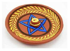Circular Paper Machie Incense Holder With Painted Pentagram Design (Z87)