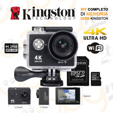 Action Cam Pro 4k WiFi Ultra HD Videocamera Subacquea Sport + 32 Gb Kingston