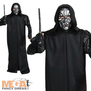 Death Eater + Mask Adults Fancy Dress Harry Potter Book Halloween Mens Costume