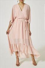 Ladies Pink Chiffon Frill Tie Waist Wrap Over Striped Maxi Dress
