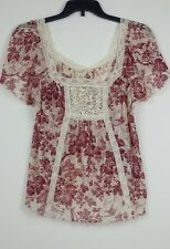 Denim & Supply Ralph Lauren Women Floral Lace-bib Peasant Top XL