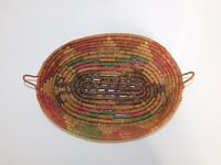 "VINTAGE Boho Oval Display BASKET 13"" Multi-color Woven Coil Ethnic Decor"