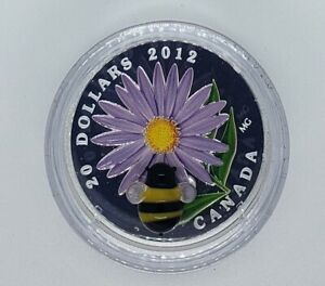 Canada 2012 $20 Aster and Glass Bumble Bee  .9999 Silver Proof Coin