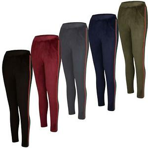 Women Velour Bottoms Side Stripped Ladies Ankle Length Velvet Joggers Size S-3XL