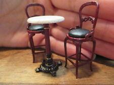1:24 HALF Scale Bespaq Mahogany Bistro Table & Chairs Set Dollhouse Miniatures