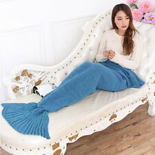 Mermaid Tail Blankets Handmade Crocheted Cocoon Sofa Beach Quilt Rug Knit Adult