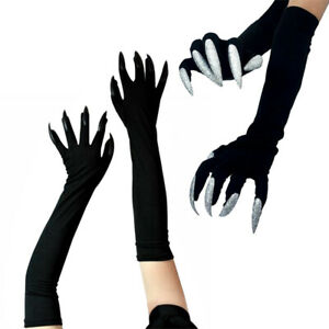 Black Elbow Satin Gloves with Shiny Glitter Nails Cosplay Costume Claw Gloves