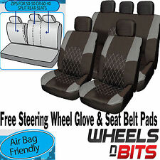 VW Polo Passat Touareg GREY & BLACK Cloth Car Seat Cover Set Split Rear Seat