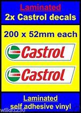 /laminato 2x OLIO CASTROL Sponsor Adesivi Classic Rally Auto Da Corsa Bicicletta Decalcomanie