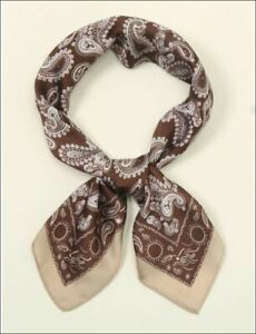 Men and Women Brown Paisley Scarf and Handkerchief Lightweight