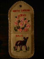 Vintage North Carolina NC Souvenir Letter Holder Floral 1980's ? Kitschy