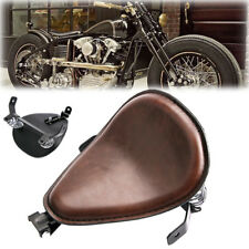 "Universal Motorcycle Skull Brown Leather Solo Saddle Seat Bracket 3"" Spring Base"