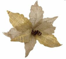 "Burlap & Newspaper Jingle Bell Poinsettia Flower Christmas 20"" D NEW XS-FBE12005"