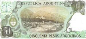 Argentina 50 Peso Argentino 🌎💷 P-314; 1983-85; UNC 🌎 Hot Springs