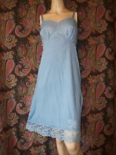 Vintage Gossard Artemis Blue Nylon Tricot Lacy Empire Slip Nighty Lingerie 36