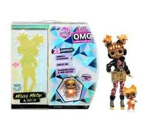 LOL Surprise OMG Winter Chill Missy Meow & Baby Cat Fashion Dolls w/25 Surprises