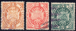 1894 Bolivia SC# 40-42 - F-VF - Coat of Arms - 3 Different Stamps - Used