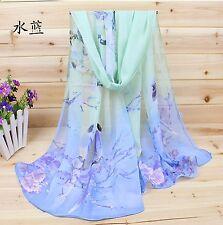 Blue & Green Ladies Chiffon Fashion Scarf Beautiful Birds Birthday Wedding Gift