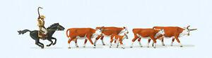 Preiser 10159 HO Langhornrinder Cowboy zu Pferd 6 Figuren