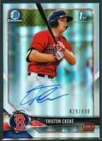 Triston Casas 2018 Bowman Chrome Refractor Autograph Auto Rookie RC /499 Red Sox