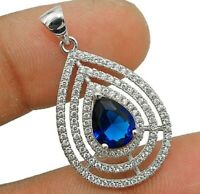Blue Sapphire & White Topaz 925 Solid Sterling Silver Pendant Jewelry, WO2