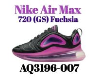Size 5Y Nike Air Max 720 (GS) Sneakers Black/Laser Fuchsia AQ3196-007 Wmns 6.5
