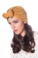 Banned Hera Crushed Velvet Mustard Vintage Style Turban