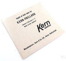 KERN PAILLARD DEPTH OF FIELD TABLE