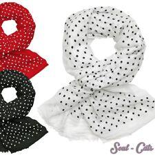Niedliches Halstuch Schaltuch mit Punkten weiß schwarz rot