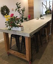 2.1m Polished concrete & timber dining table indoor outdoor patio furniture