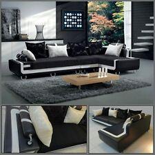 Divano soggiorno 350 cm angolare nero bordo bianco cuscini sfoderabile divani|45