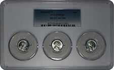 1943 D + P + S 1c Lincoln Steel Wheat Cent PCGS MS 66 Three Coin Set Tri-Holder