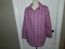 Roaman's Long Button Sleeve Button Front Black Pink Geometric Smock Blouse 14 W