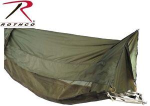 OD Green Military Style Jungle Hammock / Mosquito Netting Screen & Rainfly 2361