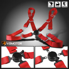 Red 4 Point Cam Lock Racing Seat Belt Quick Release Harness Strap Universal