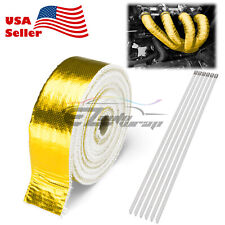 """Gold Exhaust Pipe Insulation Thermal Heat Wrap 2"""" x 50' Motorcycle Header"""