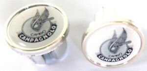 2 Caps Hanger Handlebar Cambo CAMPAGNOLO Blancs-Noirs New (BAR End Plugs)