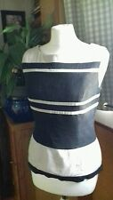Ladies 10 fitted smart light beige black striped top side bottom zip