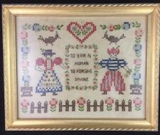 Primitive Sampler Early Look Cross Stitch TO ERR IS HUMAN Framed Sampler
