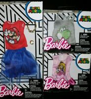 Barbie Super Mario Fashion Pack Lot of 3 Nintendo Clothes Yoshi & Princess Peach