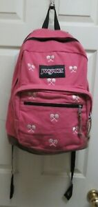 JanSport Right Pack Expressions Laptop Backpack Pink w/ Palms Suede Bottom NWOT