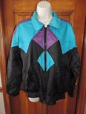 Vintage Colorful Marina Bay Zip Up Windbreaker Lined Light Jacket Size PM