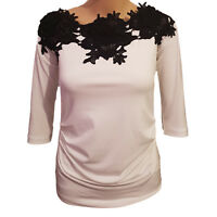 EX Coast Womens / Ladies Lace Embroidery Detail White 3/4 Sleeve Lined Top