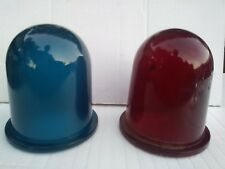 vintage ship light red and blue safety glass replacement shades