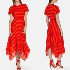 Karen Millen Coral Orange Striped Asymmetric Fluid Jersey Summer Dress UK-10