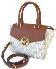Michael Kors HUDSON Medium Satchel MK Logo Handbag Bag Vanilla Nwt $368